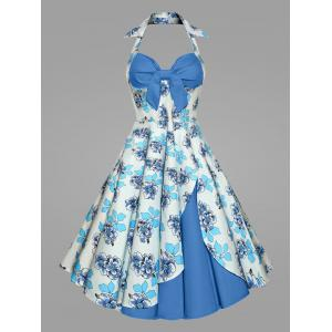 Plus Size Print Halter 50S Vintage Ball Dress - Blue - 4xl