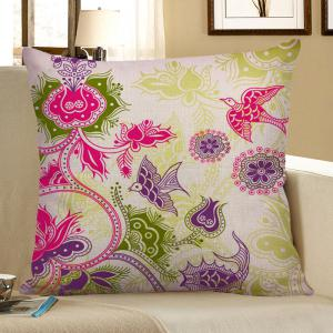 Floral Bird Print Decorative Linen Pillow Case