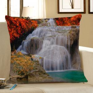Waterfall Maple Leaf Print Linen Decorative Pillow Case