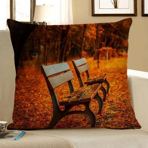 Maple Leaf Bench Print Linen Decorative Pillow Case