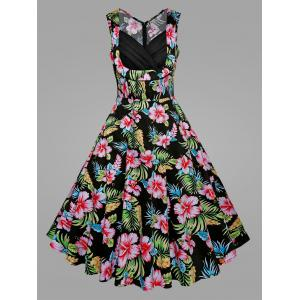 Plus Size Tropical Floral Midi Vintage Dress