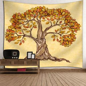 Wall Hanging Artistic Tree Beach Throw Tapestry - Deep Yellow - W79 Inch * L59 Inch
