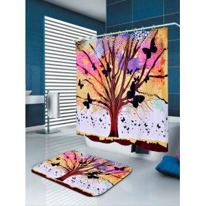 Tree of Life Butterfly Waterproof Fabric Shower Curtain - COLORFUL W59 INCH * L71 INCH