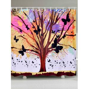 Tree of Life Butterfly Waterproof Fabric Shower Curtain
