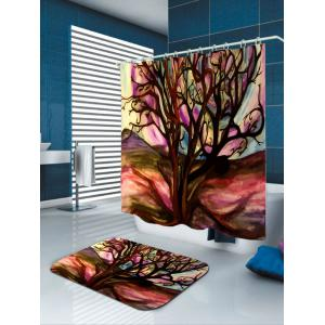 Waterproof Oil Painting Tree of Life Shower Curtain - COLORFUL W71 INCH * L79 INCH