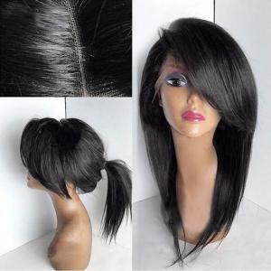 Long Deep Side Bang Straight Lace Front Synthetic Wig - Black
