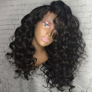 Long Side Part Shaggy Big Curly Lace Front Synthetic Wig - Black