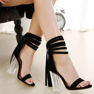 Clear Heel Ankle Wrap Fringe Sandals - Black - 40