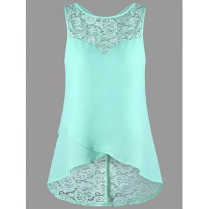 Lace Panel Sleeveless High Low Blouse - Mint - 2xl