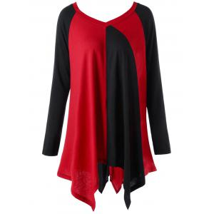 Plus Size Color Block Handkerchief Top - Red With Black - 3xl