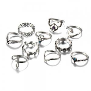 Rhinestone Floral Cross Leaf Ring Set - Silver