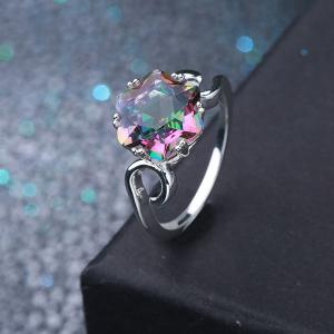 Faux Crystal Finger Hexagram Flower Ring