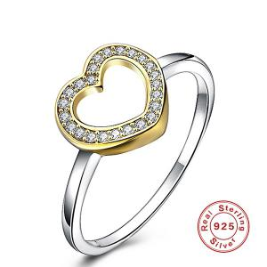 Rhinestone Heart Sterling Silver Finger Ring