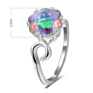 Faux Crystal Finger Hexagram Flower Ring - Argent 6