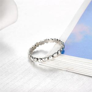Sterling Silver Heart Circle Finger Ring - SILVER 6