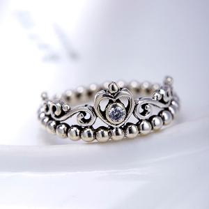 Rhinestone Sterling Silver Heart Beaded Ring - SILVER 6