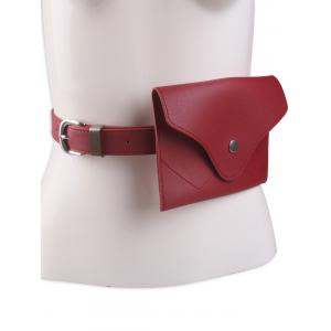 Faux Leather Pin Buckle Waist Belt with Bag - Red - 39
