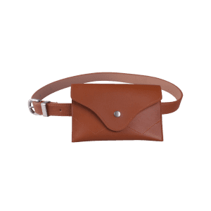 Faux Leather Pin Buckle Waist Belt with Bag