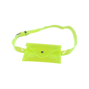 Snap Buton Jelly Color Portable Waist Belt Bag - Neon Green - 39
