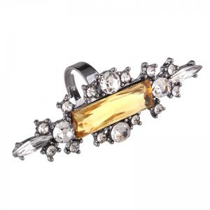 Statement Faux Crystal Geometric Finger Ring - YELLOW