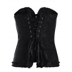 Lace Up Ruffle Corset Top - BLACK S