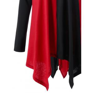 Plus Size Color Block Handkerchief Top - RED/BLACK XL