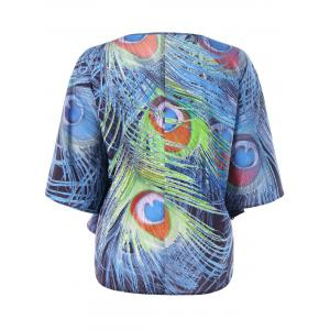 Plus Size Peacock Tail Print Top -