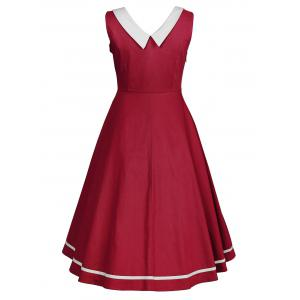 Sleeveless Plus Size  Flat Collar Vintage Dress -
