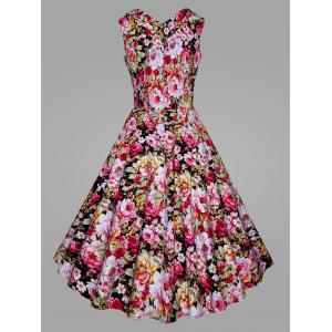 Floral Blossom Plus Size Vintage Swing Dress - PINK XL
