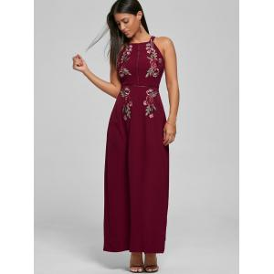 Embroidered Backless Thigh High Slit Maxi Dress - DEEP RED S