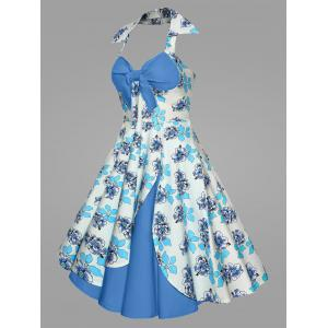 Plus Size Print Halter 50S Vintage Ball Dress -