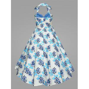 Plus Size Print Halter 50S Vintage Ball Dress - BLUE XL