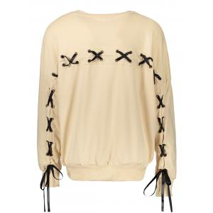 Casual Selt Tie Lace Up Sweatshirt - Apricot - L