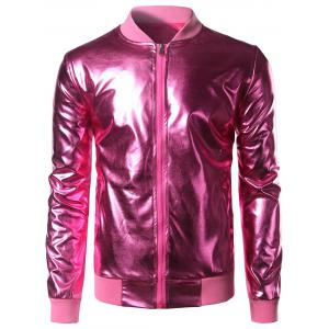 Stand Collar Zip Up Metallic Bomber Jacket