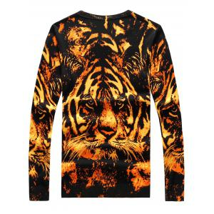 3D Tiger Print Crew Neck Long Sleeve Sweater - COLORMIX M
