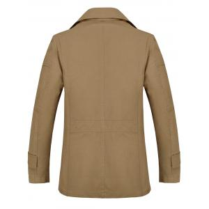 Button Pocket Single Breasted Coat - KHAKI 4XL