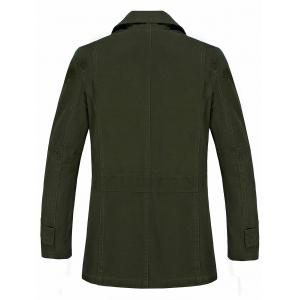 Button Pocket Single Breasted Coat - ARMY GREEN 3XL