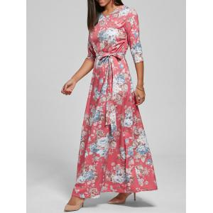 Floral Floor Length Dress - Watermelon Red - S