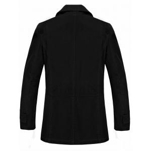 Button Pocket Single Breasted Coat - BLACK 3XL