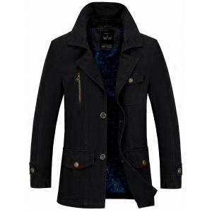 Button Pocket Single Breasted Coat - Black - L