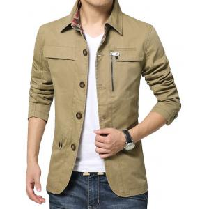 Single Breasted Snap Button Pocket Coat - KHAKI XL