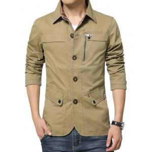 Single Breasted Snap Button Pocket Coat - KHAKI 2XL