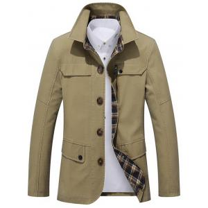 Single Breasted Snap Button Pocket Coat