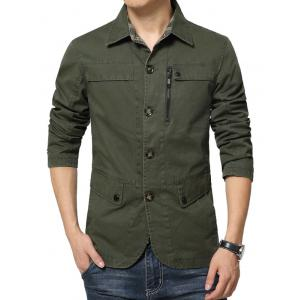 Single Breasted Snap Button Pocket Coat - GREEN 3XL