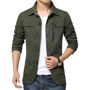 Single Breasted Snap Button Pocket Coat - GREEN 2XL