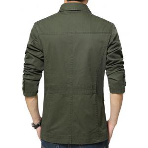 Single Breasted Snap Button Pocket Coat - GREEN L