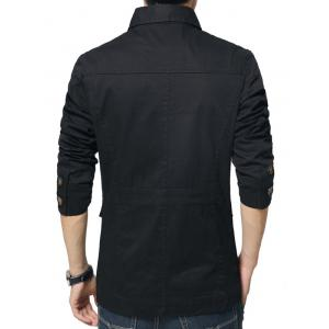 Single Breasted Snap Button Pocket Coat - BLACK 4XL