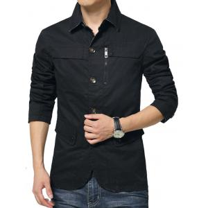 Single Breasted Snap Button Pocket Coat - BLACK 3XL