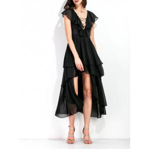 High Low Layered Lace Up Midi Dress - BLACK XL