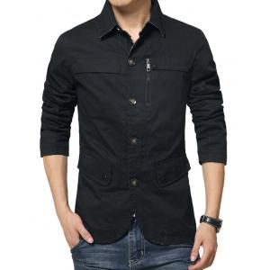 Single Breasted Snap Button Pocket Coat - BLACK XL